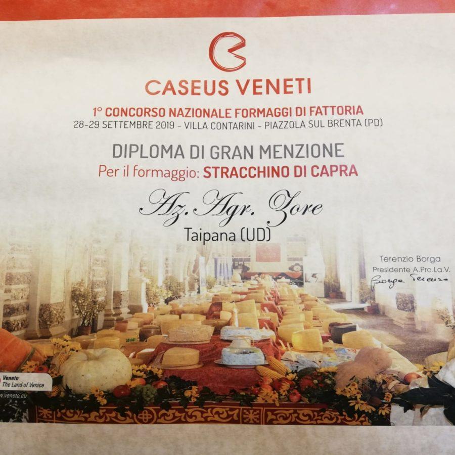Zore: Diploma di Gran Menzione a Caseus Veneti 2019
